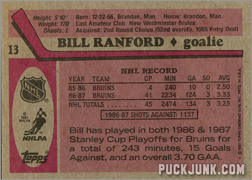 1987-88 Topps #13 - Bill Ranford (back)