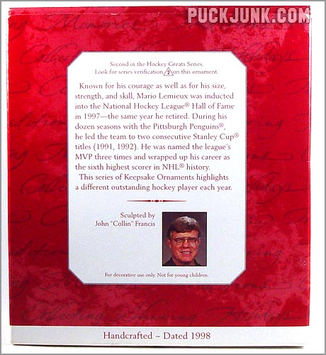 1998 Mario Lemieux Ornament - box back