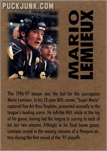 1998 Mario Lemieux Ornament - trading card back
