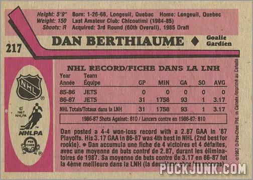 1987-88 OPC #217 - Dan Berthiaume (back)
