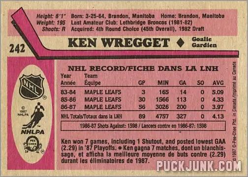 1987-88 OPC #242 - Ken Wregget (back)