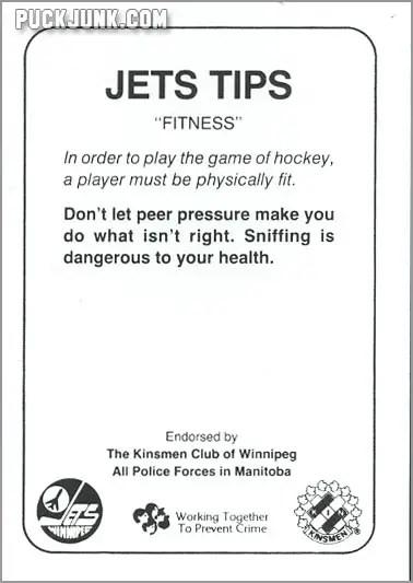 1985-86 Winnipeg Jets - Dave Silk (back)