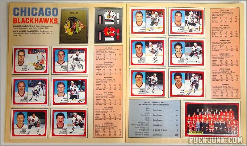 1988-89 Panini Stickers - Chicago Blackhawks