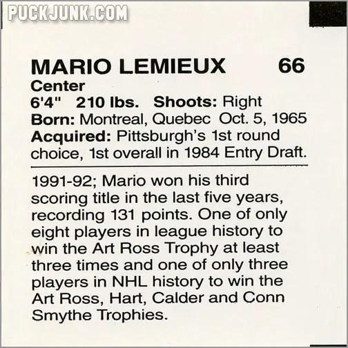 1992-93 Clark Bun Mario Lemieux #2 (back)