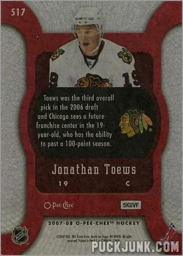 2007-08 O-Pee-Chee #517 - Jonathan Toews (back)