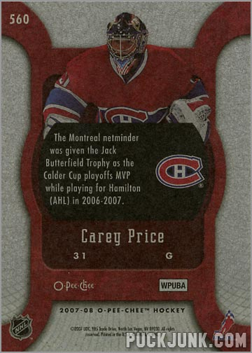 2007-08 O-Pee-Chee #560 - Carey Price (back)