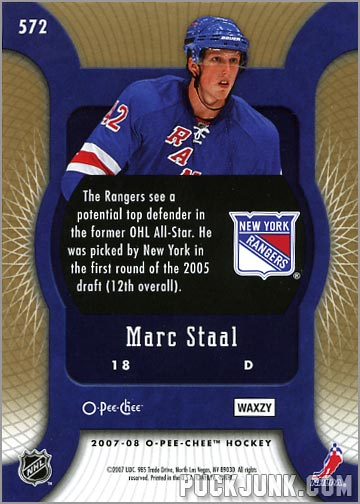 2007-08 O-Pee-Chee Micromotion Parallel #572 - Marc Staal (back)