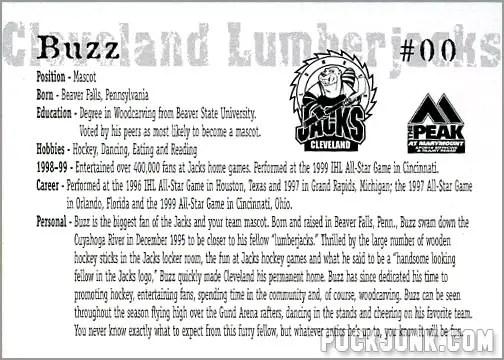 1999-00 Cleveland Lumberjacks - Buzz the Mascot (back)
