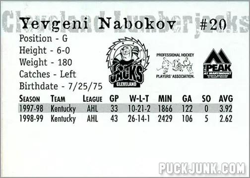 1999-00 Cleveland Lumberjacks - Evgeni Nabokov (back)