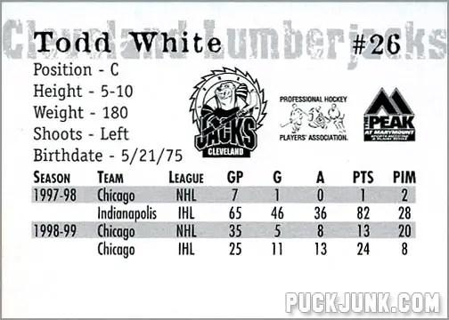 1999-00 Cleveland Lumberjacks - Todd White (back)