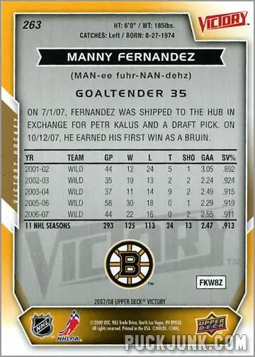 2007-08 Victory #263 - Manny Fernandez (back)