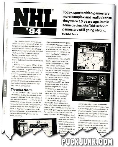 NHL '94 article for Beckett