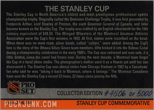 1990-91 Pro Set Stanley Cup Hologram