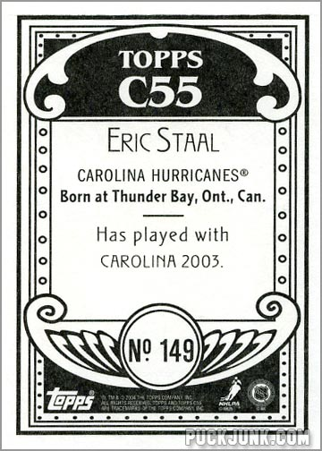 2003-04 Topps C55 #149 - Eric Staal (back)