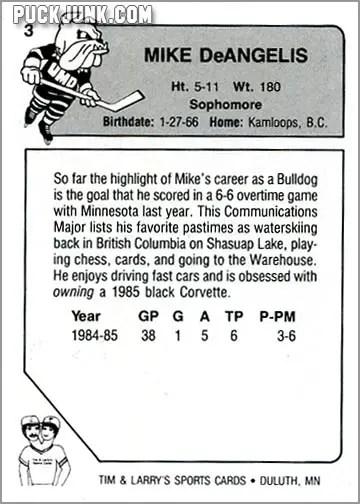 1985-86 UMD Bulldogs #3 - Mike DeAngelis (back)