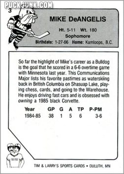 1985-86 UMD Bulldogs #3 - Mike DeAngelis (back)