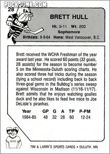 1985-86 UMD Bulldogs #28 - Brett Hull (back)