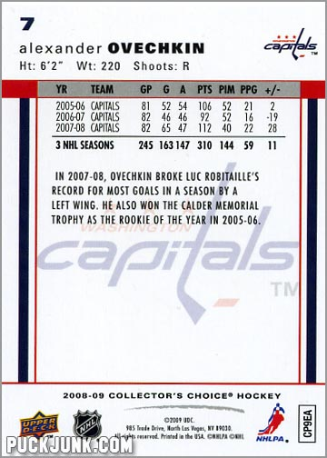 2008-09 Collector's Choice #7 - Alexander Ovechkin (back)