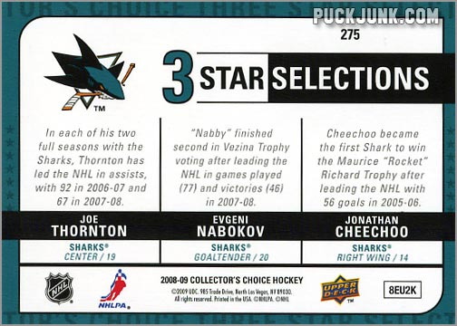 2008-09 Collector's Choice #275 - San Jose Sharks (back)