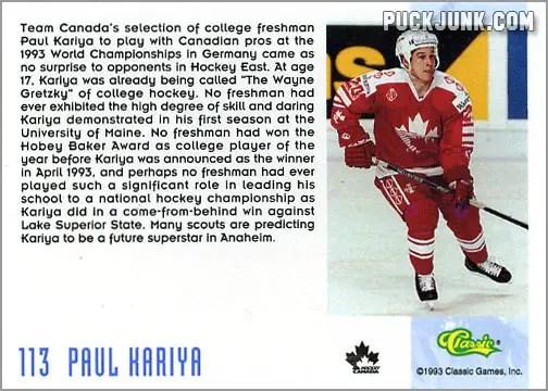 1993-94 Classic Draft Picks card #113 - Paul Kariya