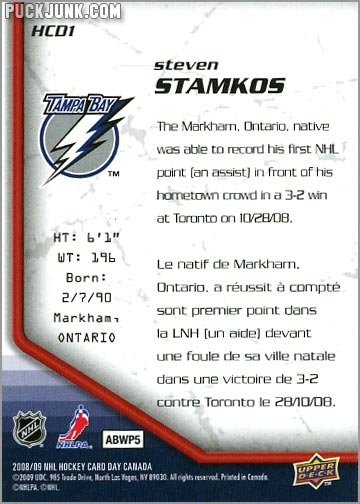 2009 National Hockey Card Day #1 - Steven Stamkos (back)