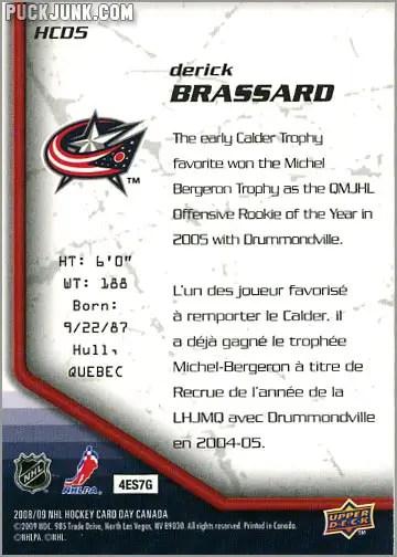 2009 National Hockey Card Day #5 - Derick Brassard (back)