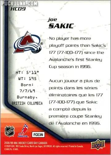 2009 National Hockey Card Day #9 - Joe Sakic (back)