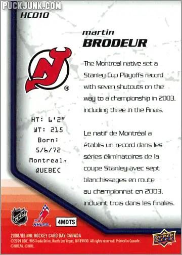 2009 National Hockey Card Day #10 - Martin Brodeur (back)