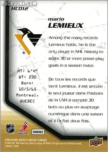 2009 National Hockey Card Day #12 - Mario Lemieux (back)