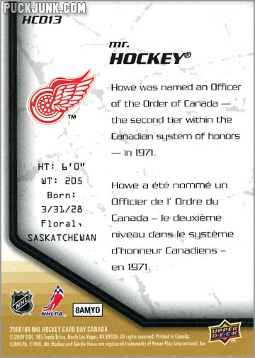 2009 National Hockey Card Day #13 - Mr. Hockey (back)