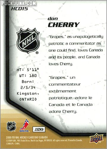 2009 National Hockey Card Day #15 - Don Cherry (back)