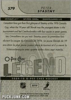 2009-10 OPC #579 - Peter Stastny (back)