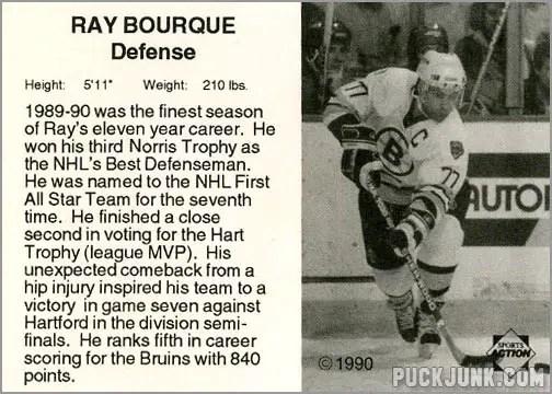 1990-91 Boston Bruins Ray Bourque (back)