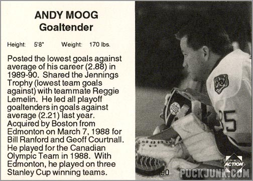 1990-91 Boston Bruins Andy Moog (back)
