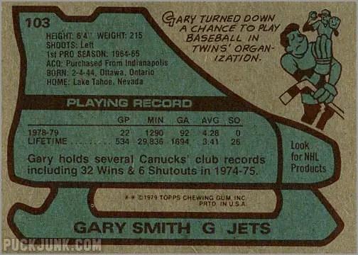1979-80 Topps #103 - Gary Smith (back)