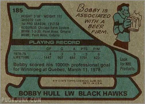 1979-80 Topps #185 - Bobby Hull (back)