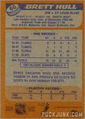 1988-89 Topps #66 - Brett Hull (back)