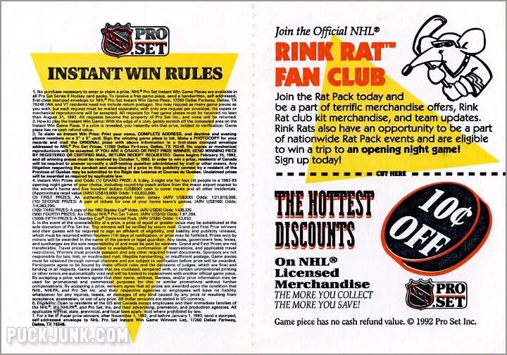 1991-92 Pro Set Hockey Game Card