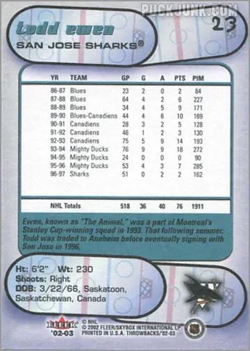 2002-03 Fleer Throwbacks #23 - Todd Ewen (back)