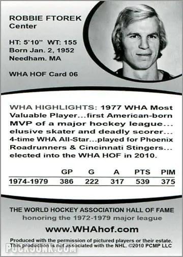 2010 WHA Hall of Fame #6 - Robbie Ftorek (back)