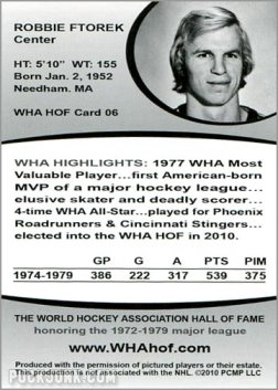 2010 WHA Hall of Fame #6 - Robbie Ftorek (back)