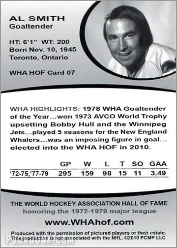 2010 WHA Hall of Fame #7 - Al Smith (back)