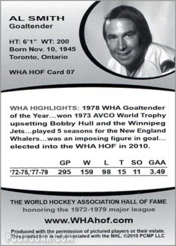 2010 WHA Hall of Fame #7 - Al Smith (back)