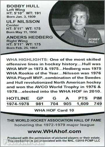 2010 WHA Hall of Fame #10 - The Winnipeg Hotline (back)
