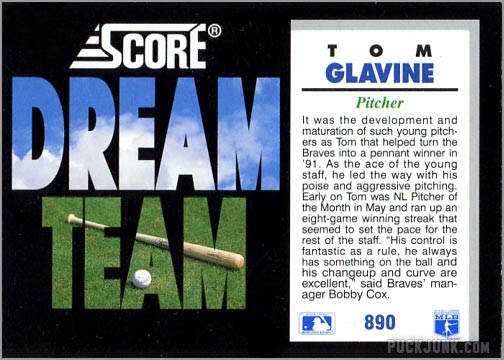 1992 Score Baseball card #890 - Tom Glavine