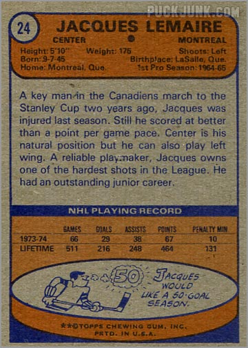 1974-75 Topps card #24 - Jacques Lemaire