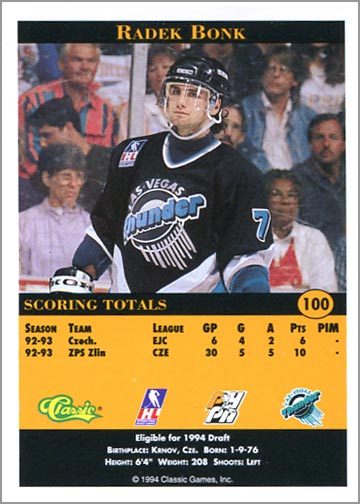 1993-94 Classic Pro Prospects Radek Bonk (back)