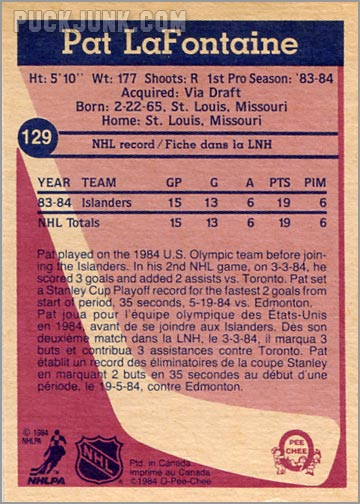 1984-85 OPC #129 - Pat Lafontaine (back)