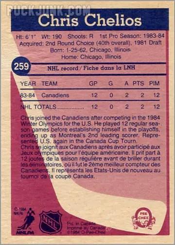 1984-85 OPC #254 - Chris Chelios (back)