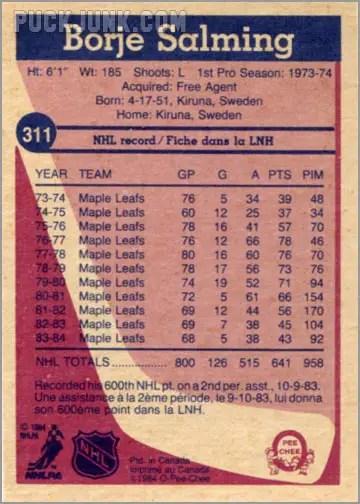 1984-85 OPC #311 - Borje Salming (back)